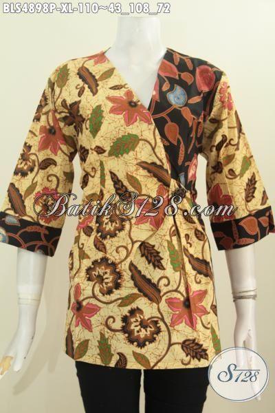 Baju Blus Kimono Bahan Batik Printing Warna Klasik Nan Elegan, Baju Batik Kerja Wanita Karir Kantoran Size XL [BLS4898P-XL]
