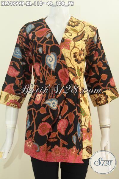 Agen Baju Batik Online, Sedia Blus Kimono Dual Warna Bahan Halus Motif Elegan Proses Printing Hanya 100 Ribuan, Size XL
