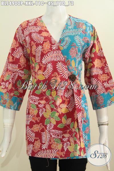 Pakaian Batik Warna Merah Kombinasi Biru Muda, Baju Blus Kimono Proses Printing 3L Buat Tampil Wanita Gemuk Modis Dan Gaya, Size XXL