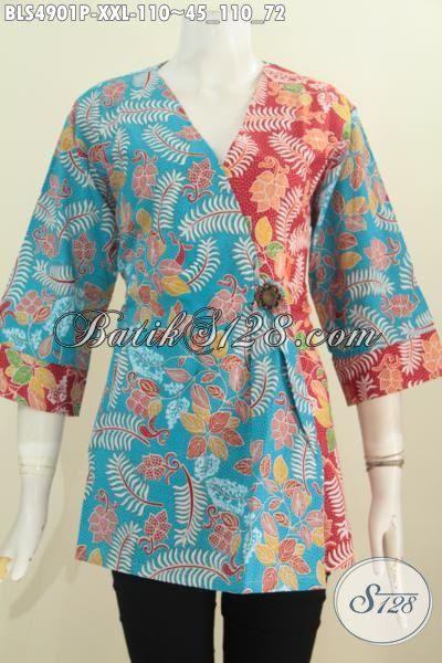 Baju Batik Kimono Buat Wanita Gemuk, Blus Batik Warna Biru Kombinasi Merah Bahan Adem Proses Printing Hanya 110k, Size XXL