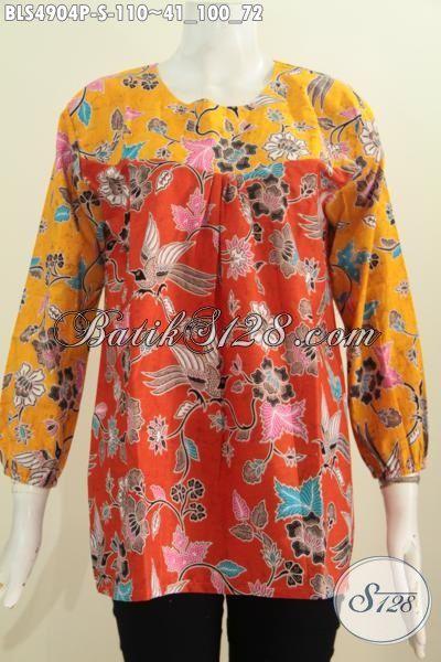 Blus Batik Lengan Panjang Dual Warna Dengan Karet Di Ujung Lengan, Pakaian Batik Modis Bahan Halus Motif Unik Untuk Hangout Dan Kerja [BLS4904P-S]
