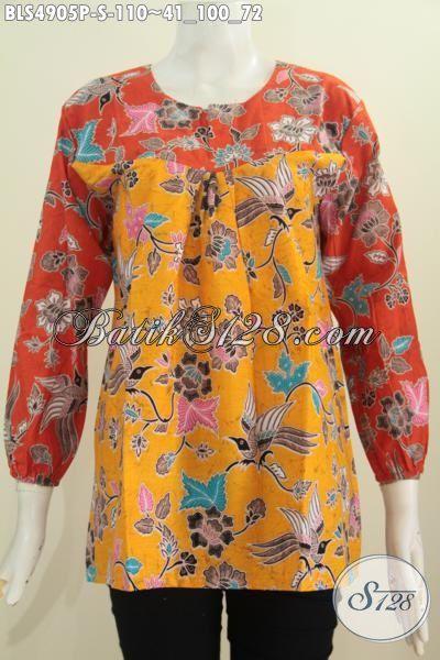 Pakaian Blus Batik Model Lengan Panjang Kombinasi Dua Warna Kuning Orange Dan Pakai Karet Di Ujung Lengan, Busana Batik Printing Trendy Bahan Adem Harga 100 Ribuan [BLS4905P-S]