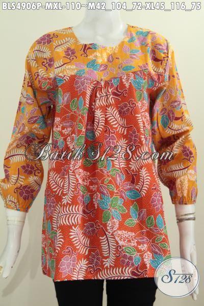 Jual Produk Blus Batik Terbaru, Busana Batik Keren Model Lengan Panjang Dengan Kombinasi 2 Warna Cerah Yang Membuat Penampilan Lebih cantik Dan Segar, Size M – XL