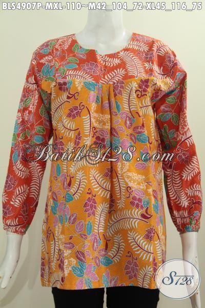 Baju Batik Modern Model Lengan Panjang Busana Blus Wanita Dewasa