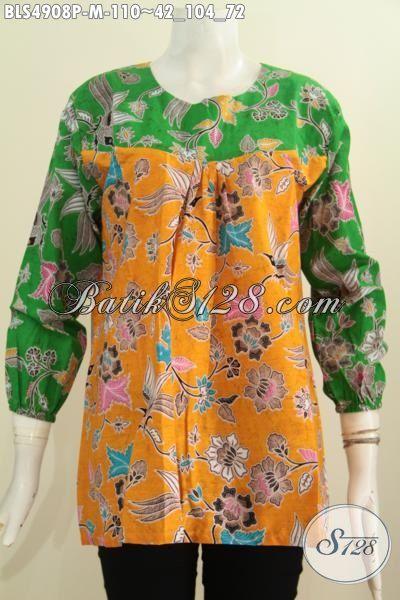 Jual Baju Blus Lengan Panjang Kuning Kombinasi Hijau, Pakaian Batik Trendy Desain Modern Cocok Buat Jalan-Jalan, Size M