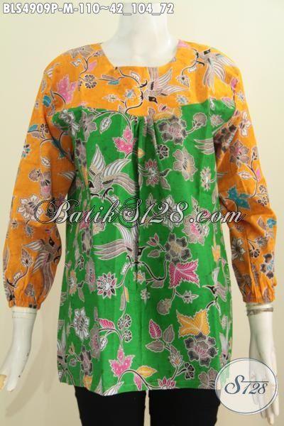 Pakaian Blus Trendy Lengan Panjang Kombinasi Dua Warna, Busana Batik Kwalitas Istimewa Berbahan Adem Proses Printing Bikin Penampilan Lebih Bergaya, Size M