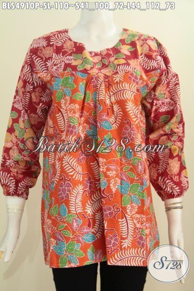 Toko Online Baju Batik Wanita Terlengkap Dan Terpercaya, Sedia Blus Lengan Panjang Keren Bahan Halus Dengan Dual Warna, Blus Batik Solo Proses Printing Hanya 110K, Size L