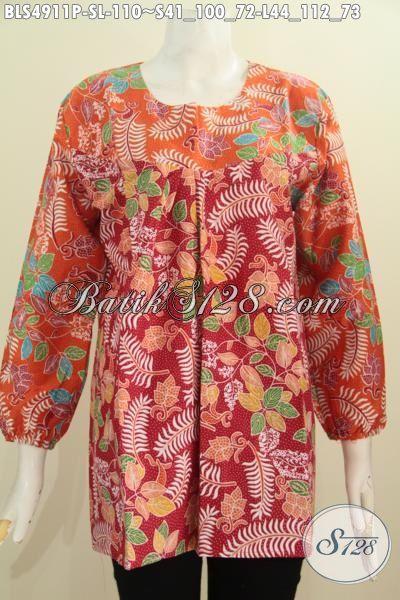 Busana Batik Dual Warna Kwalitas Bagus Bahan Adem Proses Printing, Baju Batik Perempuan Dewasa Ukuran S Dan L Berbahan Adem Nyaman Di Cuaca Panas