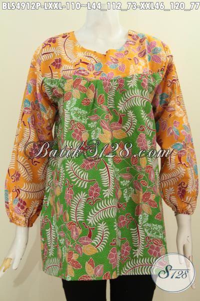 Pakaian Batik Solo Model Lengan Panjang Buat Wanita Karir Dewasa, Produk Baju Blus Batik Istimewa Model Lengan Panjang Dengan Motif Trendy Kombinai Dua Warna Proses Printing Penampilan Makin Modis, Size L – XXL