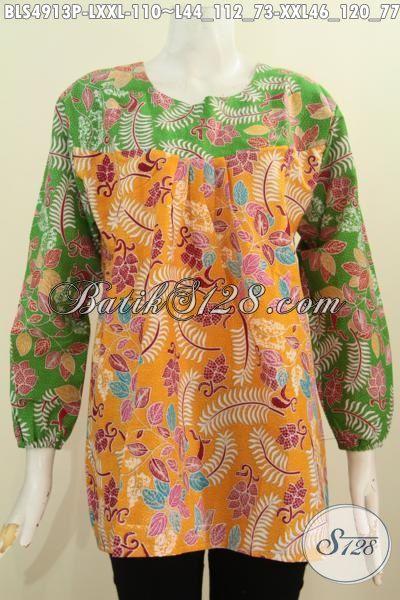 Aneka Baju Batik Wanita Dewasa, Hadir Dengan Model Lengan Panjang Istimewa Berpadu Kombinasi Dua Warna Berbahann Halus Motif Keren Proses Printing Harga 110K, Size L – XXL