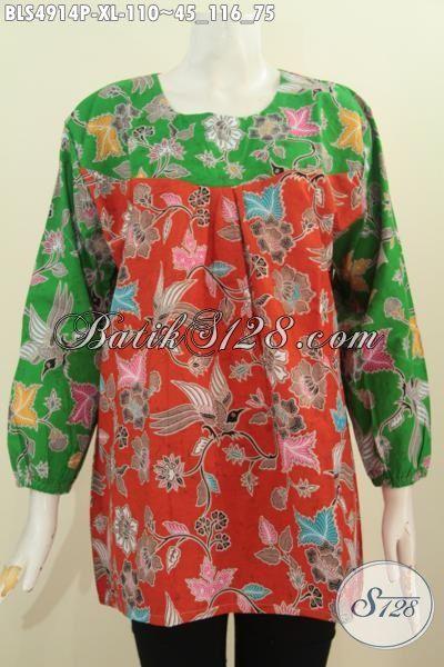 Baju Blus Batik Solo Model Terbaru, Pakaian Batik Wanita Dewasa Kombinasi Dua Warna, Baju Batik Modis Untuk Santai Dan Dan Pesta, Size XL