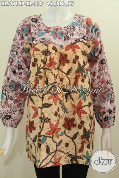 Busana Blus Batik Elegan Bahan Halus Proses Printing Motif Trend Model Lengan Panjang Ukuran XL
