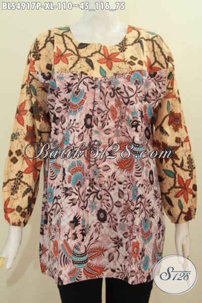 Toko Online Batik Jual Blus Lengan Panjang Ukuran XL Berbahan Adem Motif Mewah Dengan Kombinasi Dua Warna Elegan Harga 110 Ribu