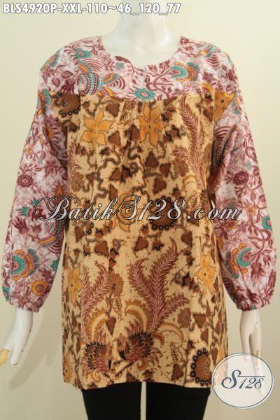 Sedia Pakaian Batik Istimewa Untuk Wanita Gemuk, Baju Blus 3L Model Lengan Panjang Berbahan Adem Motif Trendy Warna ELegan Bikin Penampilan Makin Anggun Dan Cantik, Size XXL