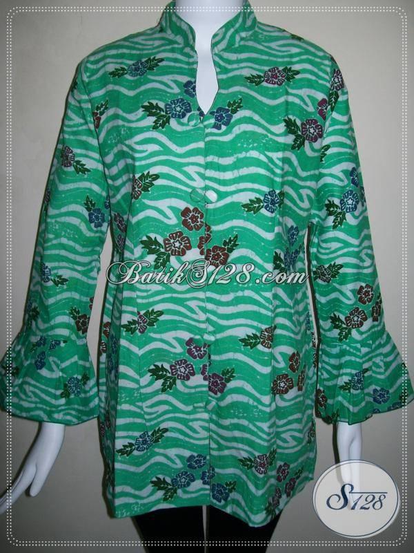 Blus Batik Wanita Modern dan Trendy Warna Hijau
