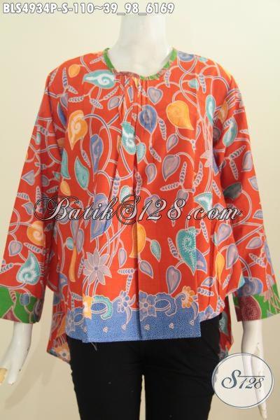 Baju Blus Lengan Panjang Keren Modis Trend Terbaru Dengan warna Cerah Motif Berkelas Proses Printing, Size S Cocok Utnuk Wanita Muda