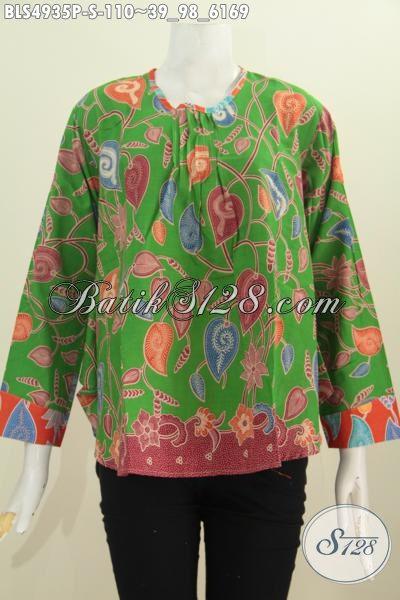 Busana Batik Wanita Terkini, Hadir Dengan Model Lengan Panjang Bagian Punggung Lebih Panjang Dari Depan, Batik Blus Halus Motif Elegan Proses Printing 100 Ribuan, Size S