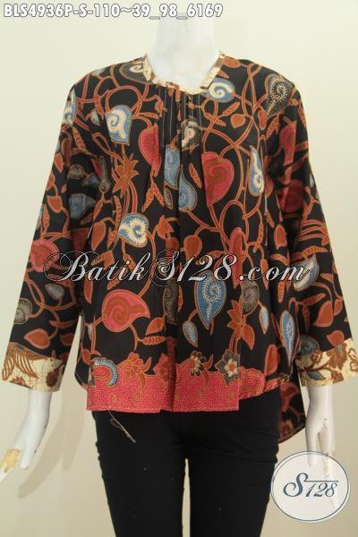 Jual Pakaian Batik Elegan Proses Printing Model Lengan Panjang Dengan Warna Berkelas Istimewa Untuk Busana Kerja [BLS4936P-S]