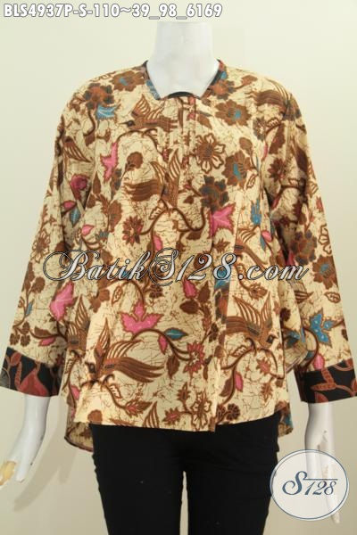 Sedia Pakaian Batik Blus Lengan Panjang Warna ELegan Ukuran S, Baju Batik Printing Istimewa Untuk Wanita Karir Terlihat Istimewa
