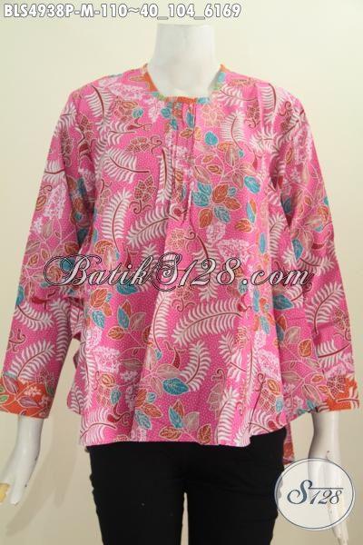 Blus Batik Warna Pink Motif Bagus, Pakaian Batik Wanita Proses Printing Model Lengan Panjang Dengan Bagian Belakang Lebih Panjang Ukuran M, Cocok Untuk Acara Formal [BLS4938P-M]