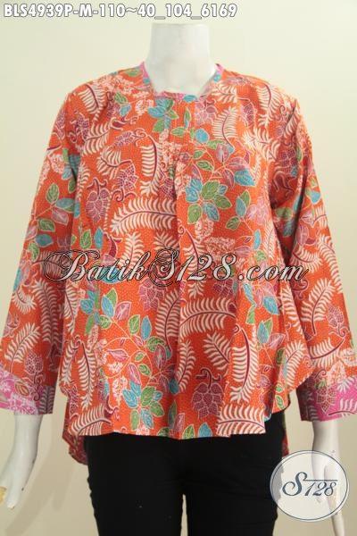Sedia Pakaian Batik Keren Halus Warna Orange, Busana Batik Lengan Panjang Perempuan Kantoran Yang Selalu Ingin Tampil Modis Dan Gaya, Size M