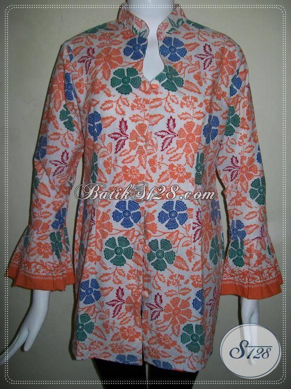 Blus Batik Wanita Motif Bunga Warna Orange Cerah