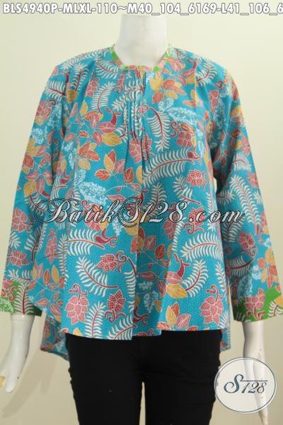 Baju Blus Lengan Panjang Tidak Pakai Furing Warna Biru Untuk Wanita Karir Selalu Tampil Modis Dan Gaya, Size M – L – XL