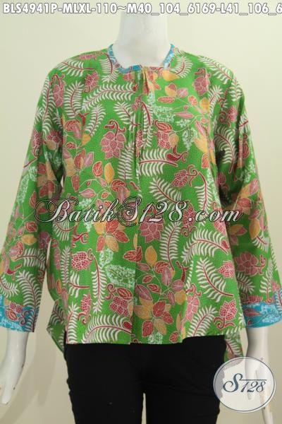 Busana Blus Batik Warna Hijau Lengan Panjang Desain Terbaru Bagian Belakang Lebih Panjang, Pakaian Batik Modis Buatan Solo Proses Printing Yang Bikin Cewek Cantik Mempesona [BLS4941P-M , L]
