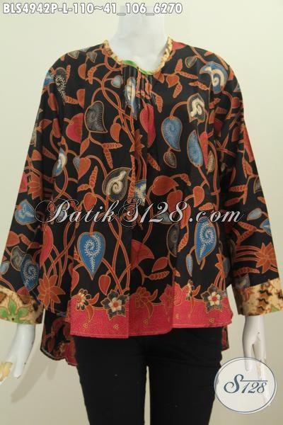 Baju Blus Keren Dan Elegan, Pakaian Batik Printing Model Lengan Panjang Dengan Bagian Punggung Lebih Panjang Dari Depan, Size L