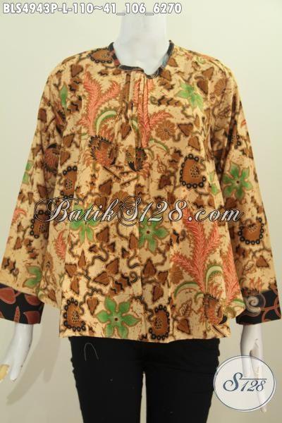 Baju Blus Batik Lengan Panjang Ukuran L, Pakaian Batik Modis Istimewa Motif Elegan Bahan Halus Proses Printing Untuk Tampil Berkelas