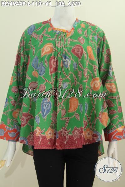 Jual Pakaian Blus Bahan Batik Trendy Warna Hijau Motif Bagus Bahan Adem Proses Printing Model Lengan Panjang Nan Istimewa, Size L