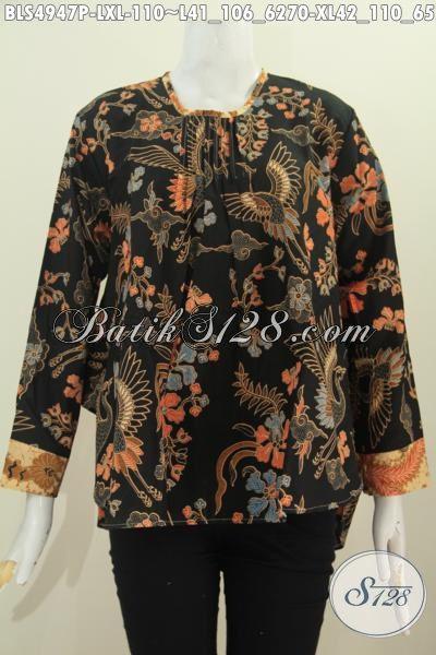 Toko Online Produk Batik Khas Solo, Sedia Blus Lengan Panjang Motif Dan Warna Elegan Model Lengan Panjang Bahan Adem Proses Printing Harga 110K [BLS4947P-XL]