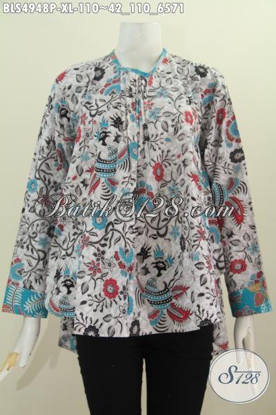 Baju Blus Lengan Panjang Motif Berkelas Warna Cerah Bagian Belakang Lebih Panjang, Bahan Halus Proses Printing Modis Juga Untuk Wanita Berhijab, Size XL