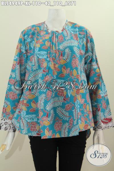 Pusat Baju Batik Online Khas Jawa Tengah, Jual Blus Lengan Panjang Motif Bagus Proses Printing Untuk Wanita Dewasa Terlihat Modis Dan Gaya, Size XL
