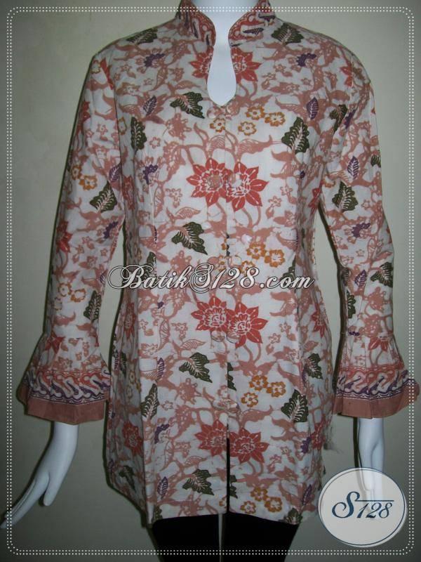 Blus Batik Wanita Lengan Panjang Motif Bunga  Baju Batik Modern