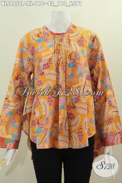 Agen Produk Pakaian Batik Online, Sedia Blus Kuning Motif Modern Berbahan Halus Proses Printing Desain Lengan Panjang Yang Nyaman Di Pakai Sehari-Hari, Size XL