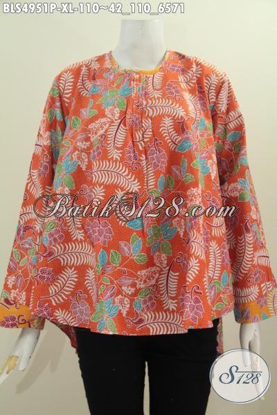 Batik Blus Printing Warna Orange, Busana Blus Batik Warna Cerah Model Lengan Panjang Kwalitas Istimewa Harga Murmer, Size XL