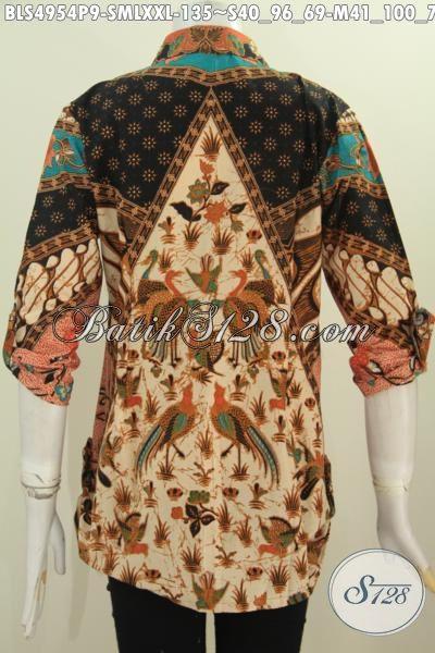 Baju Batik Blus Klasik Lengan Tuju Perdelapan, Pakaian Batik Elegan Motif Sinaran Proses Printing Elegan Untuk Kerja Dan Kondangan, Size M – L – XXL