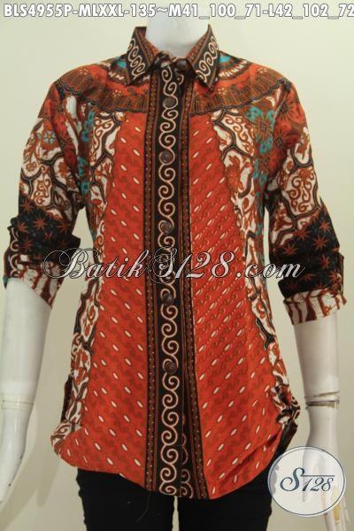 Aneka Baju Blus Batik Batik Elegan Deain Mewah Lengan Tujuh Perdelapan, Baju Batik Printing Motif Sinaran Asli Solo Untuk Tampil Mempesona, Size M – L