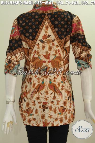 Baju Batik Istimewa Untuk Wanit Dewasa, Busana Blus Elegan Berkelas Bahan Adem Proses Printing Lengan 7/8 Daleman Tidak Pakai Furing Motif Sinaran, Size L – XL