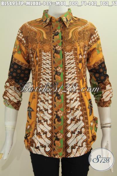 Jual Online Pakaian Blus Batik Keren Trend Bahan Adem Proses Printing, Busana Batik Klasik Motif Sinaran Harga 100 Ribuan Untuk Penampilan Lebih Gaya Dan Mempesona, Size M – L – XXL
