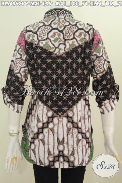 Sedia Baju Blus Batik Online Untuk Wanita Muda Dan Dewasa, Baju Batik Solo Klasik Desain Formal Lengan 7/8 Motif Sinaran Bahan Adem Asli Dari Solo [BLS4958P-XL]