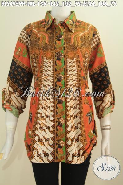 Pakaian Batik Wanita Karir, Hadir Dengan Desain Mewah Motif Klasik Sinaran Proses Printing Desain Lengan 7/8 Lebih Modis Dan Gaya, Size L – XL
