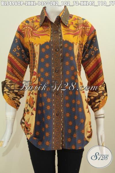 Jual Online Baju Blus Istimewa Dari Solo, Pakaian Batik Modis Bahan Adem Motif Sinaran Lengan Tujuh Perdelapan Untuk Penampilan Lebih OK, Size L