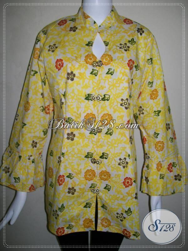 Batik Wanita Lengan Panjang Model Trendy,Batik Wanita Motif Bunga Warna Kuning Cerah