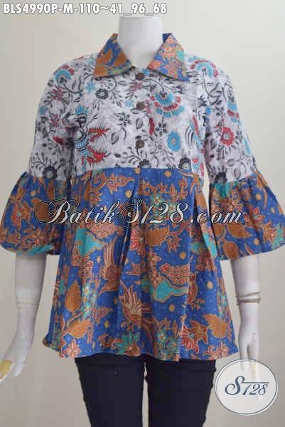 Blus Batik Trendy Kerah Lancip Desain Terbaru Yang Membuat Cewek Modis Dan Gaya, Bahan Halus Proses Printing Harga 100 Ribuan, Size M
