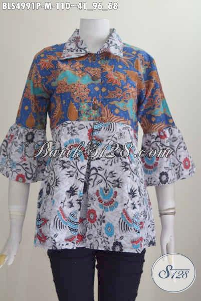 Pakaian Blus Dual Motif, Baju Batik Keren Kombinasi Dua Warna Proses Printing Bahan Adem Nyaman Di Paki Tampil Gaya, Size M