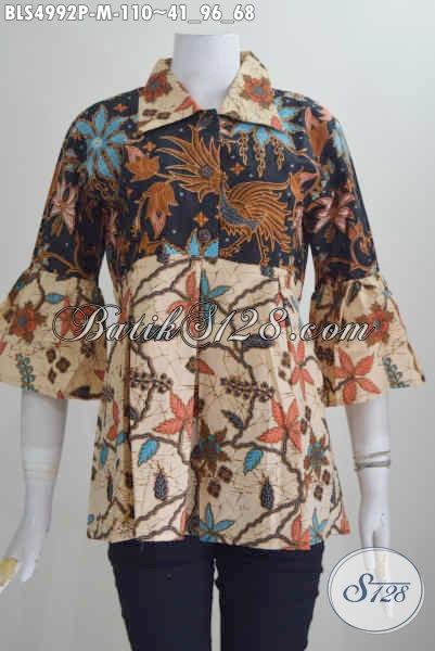 Blus Batik Elegan Desain Modis Kwalitas Bagus, Produk Baju Batik Printing Model Kerah Lancip Bahan Halus Harga 100 Ribuan, Size M