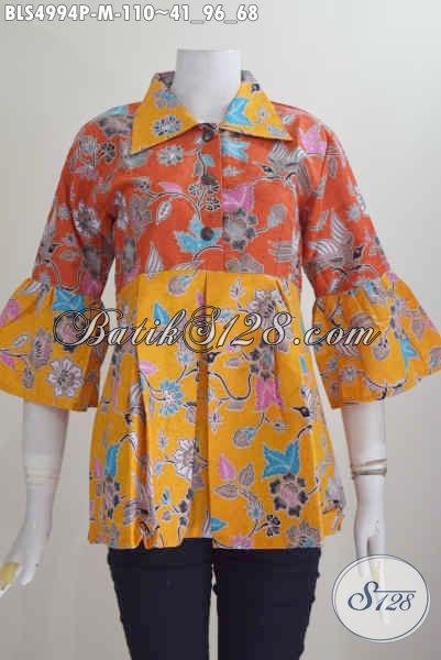 Baju Batik Printing Kerah Lancip Kombinasi Dua Motif, Pakaian Batik Perempuan Muda Size M Harga 110K