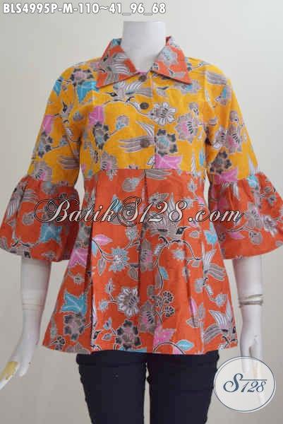 Jual Online Blus Kombinasi Dua Warna Baju Batik Kerah